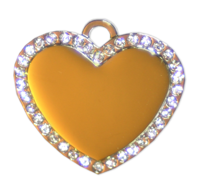 Diamante Heart Tags - Gold - 34mm - (5 pieces)