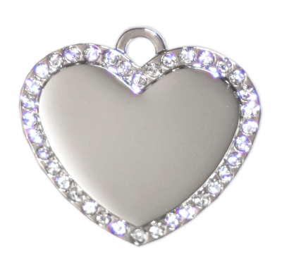 Diamante Heart Tags - Silver - 34mm - (5 pieces)