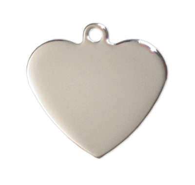 Heart Tags - Silver - 27mm - (10 pieces)