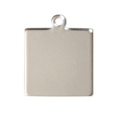 Square tags - Silver - 20mm - (10 pieces)